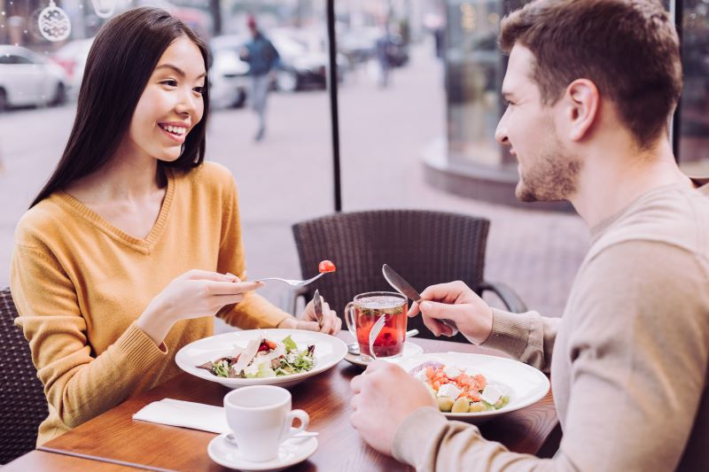Couple chatting over lunch date