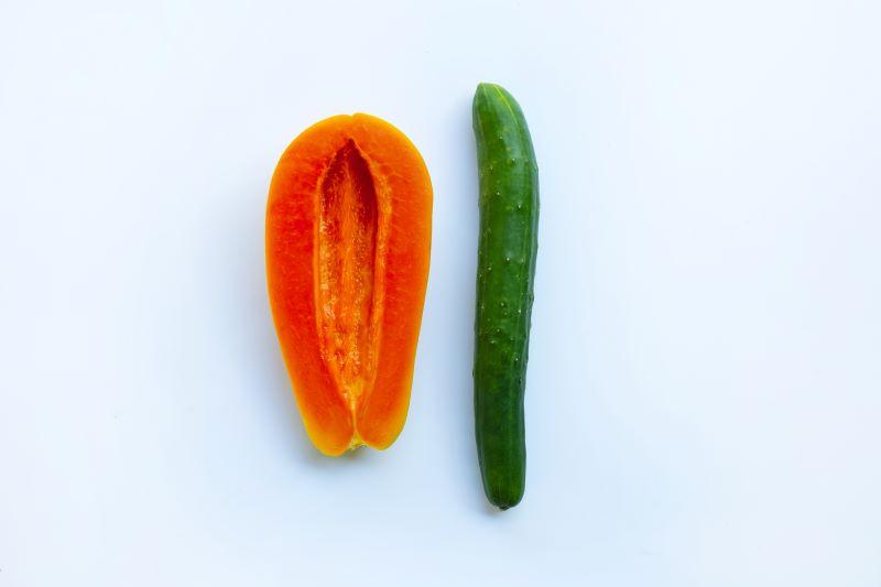Cucumber and half papaya