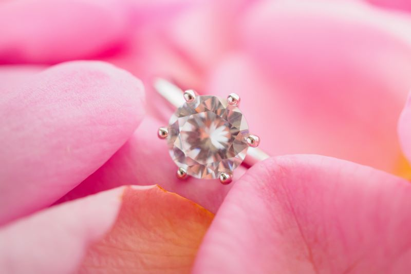 Diamond ring in pink rose petals