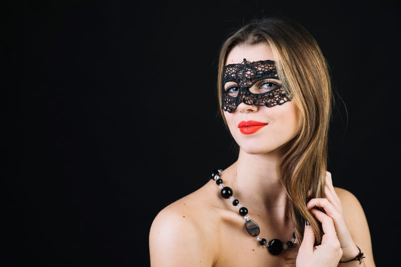 Attractive woman wearing mask
