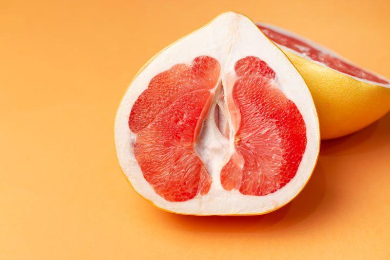 Close-up of a half grapefuit