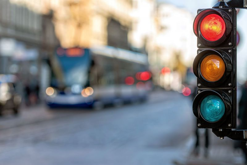 Close up traffic lights on street
