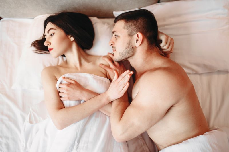 Couple having problems in bed bad sex
