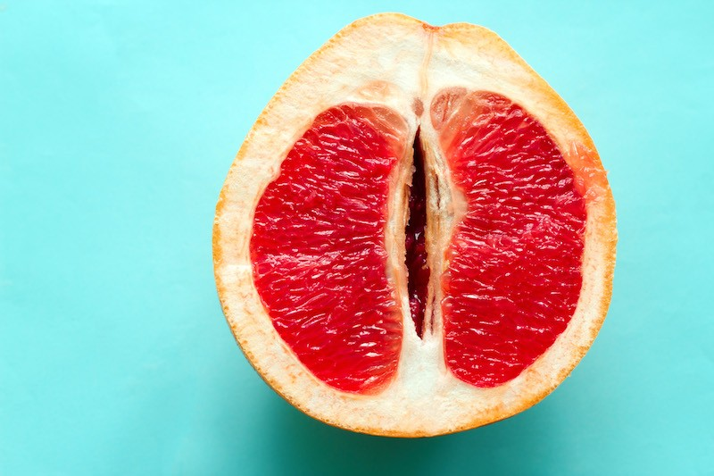 grapefruit with blue background