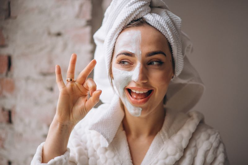 Happy woman in facemask