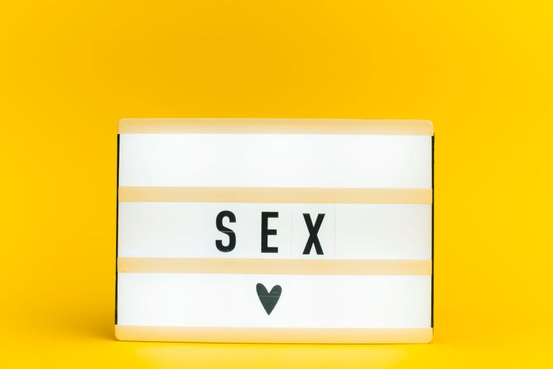 Light box with text spelling sex