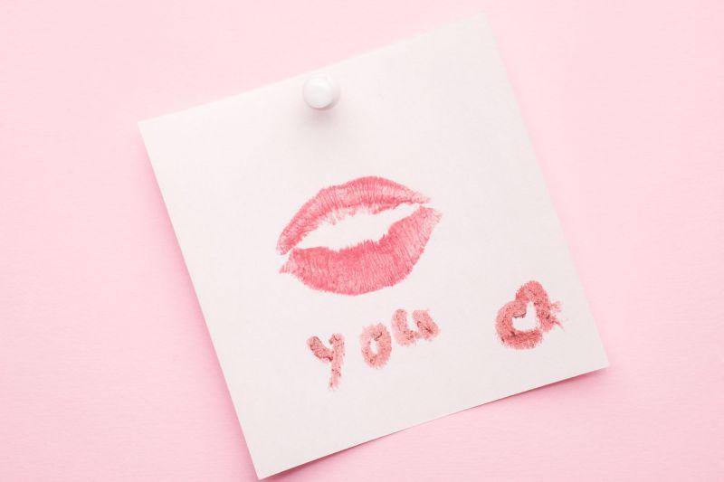 Lipstick kiss print on paper