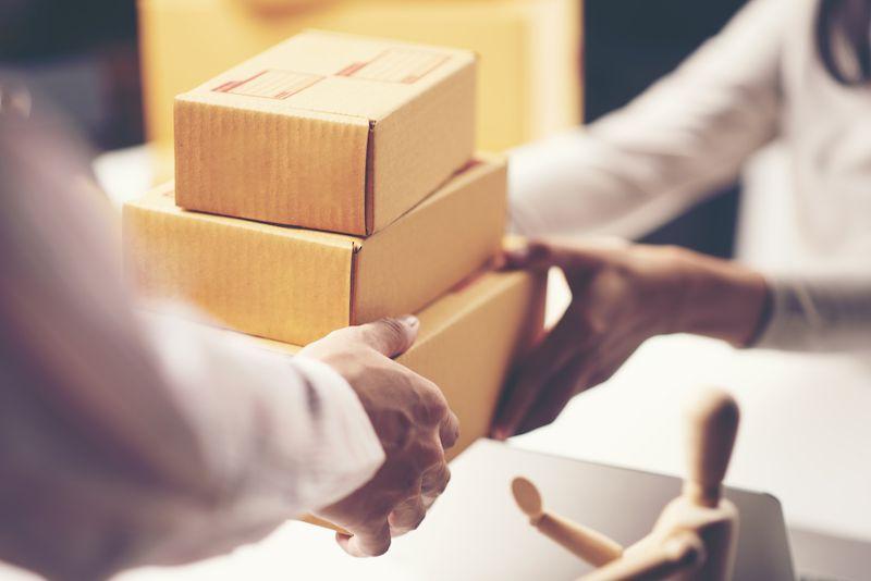 Woman delivering parcels