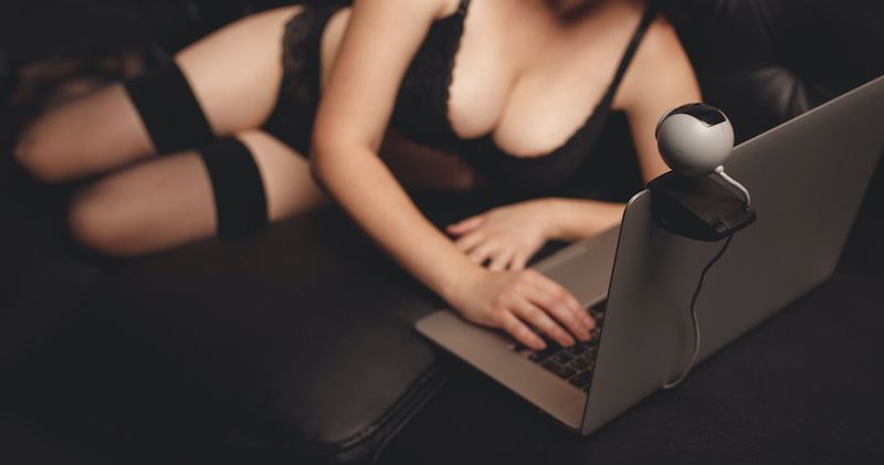 Woman in lingerie in front of laptop camera