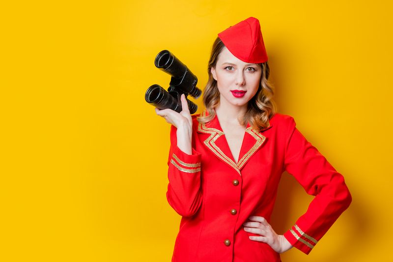 Woman in red uniform
