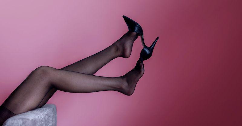 Woman legs lying back