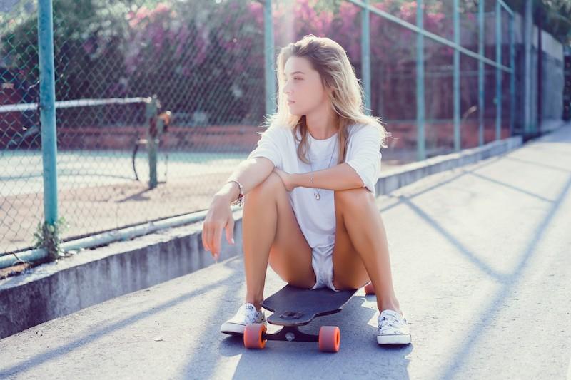 Sexy woman skating as real hobby