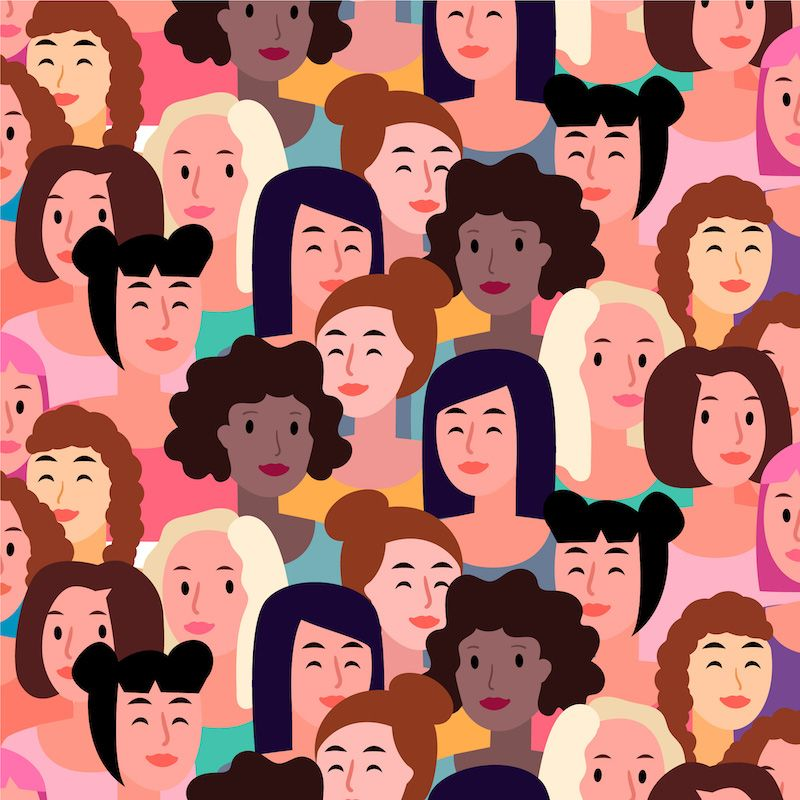 Graphic of women's faces in crowd
