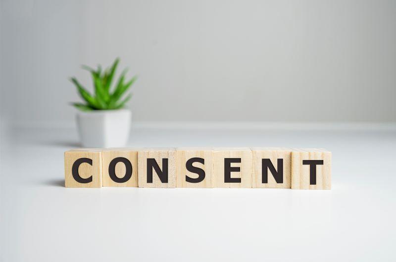 Letter blocks spelling consent